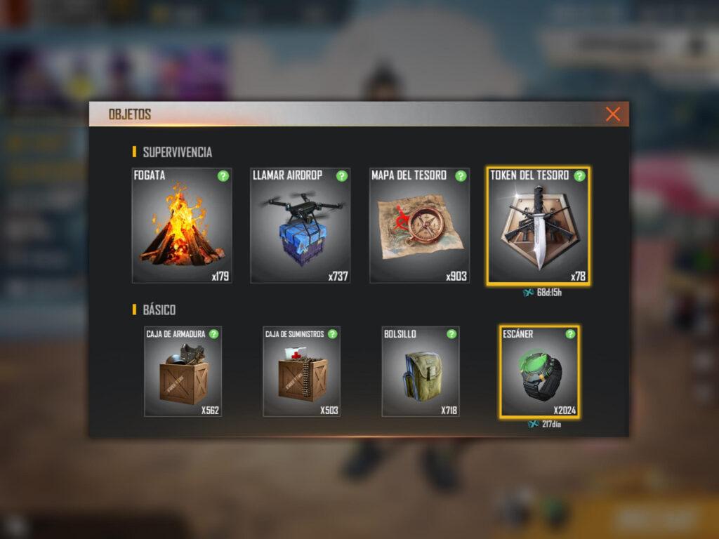 objetos equipables en free fire